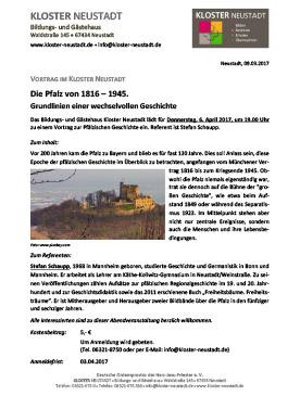 Vortrag: Die Pfalz von 1816-1945