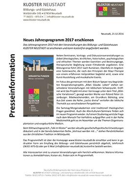Presseinfo: Jahresprogramm 2017